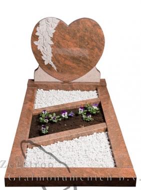 Grafsteen hart graveer