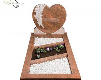 Grafsteen hart graveer – model A4